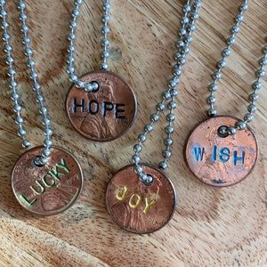 Dainty set Penny coin necklaces JOY HOPE LUCKY WISH handmade copper set of 4